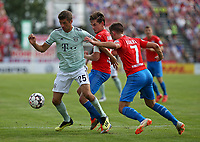 18.08.2018, Football DFB Pokal 2018/2019, 1. round, SV Drochtersen Assel - FC Bayern Muenchen, Kehdinger stadium Drochtersen.  Thomas Mueller (Bayern Muenchen)  -  and Soeren Behrmann (SV Drochtersen-Assel) and Jannes Elfers (SV Drochtersen-Assel)<br /><br /><br />***DFB rules prohibit use in MMS Services via handheld devices until two hours after a match and any usage on internet or online media simulating video foodaye during the match.*** *** Local Caption *** © pixathlon<br /> <br /> Contact: +49-40-22 63 02 60 , info@pixathlon.de