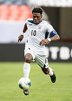 DENVER, CO - JUNE 19: Aricheell Hernandez #10 attacks during a game between Martinique and Cuba at Broncos Stadium on June 19, 2019 in Denver, Colorado.