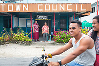 Taualo Penivao (left) is the chief executive office of the Kaupule town council. He stands next to Siliga Kofe (right), head chief of Funafuti. Located in the South West Pacific Ocean, Tuvalu is the world's 4th smallest country and is one of the most vulnerable to climate change impacts including sea level rise, drought and extreme weather events. Tuvalu - March, 2019.