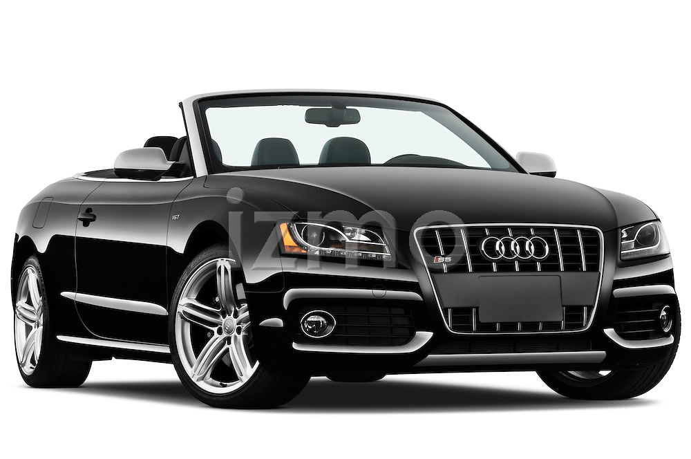 Low aggressive passenger side front three quarter view of a 2010 - 2011 Audi S5 Cabriolet