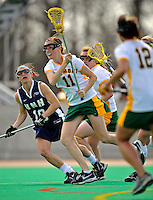 9 April 2008: University of Vermont Catamounts' Midfielder Kristen Millar, a Junior from Whitby, Ontario, in action against the University of New Hampshire Wildcats at Moulton Winder Field, in Burlington, Vermont. The Catamounts rallied to defeat the visiting Wildcats 9-8 in America East divisional play...Mandatory Photo Credit: Ed Wolfstein Photo