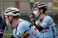a relaxed Wout van Aert (BEL/Jumbo - Visma) at the start<br /> <br /> Men's Elite Road Race from Imola to Imola (258km)<br /> <br /> 87th UCI Road World Championships 2020 - ITT (WC)<br /> <br /> ©kramon