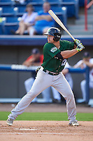 Daytona Tortugas left fielder Brian O'Grady (12) at bat during a game against the Brevard County Manatees on August 14, 2016 at Space Coast Stadium in Viera, Florida.  Daytona defeated Brevard County 9-3.  (Mike Janes/Four Seam Images)