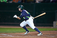 Vermont Lake Monsters third baseman Trace Loehr (6) at bat during a game against the Hudson Valley Renegades on September 3, 2015 at Centennial Field in Burlington, Vermont.  Vermont defeated Hudson Valley 4-1.  (Mike Janes/Four Seam Images)