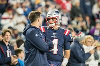 FOXBORO, MA - OCTOBER 10: New England Patriots Quarterback Jarrett Stidham during a game between New York Giants and New England Patriots at Gillettes on October 10, 2019 in Foxboro, Massachusetts.