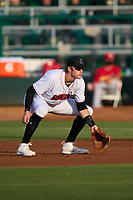 Jupiter Hammerheads first baseman Sean Reynolds (25) during a game against the Palm Beach Cardinals on May 11, 2021 at Roger Dean Chevrolet Stadium in Jupiter, Florida.  (Mike Janes/Four Seam Images)