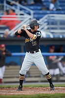 West Virginia Black Bears shortstop Andrew Walker (13) at bat during a game against the Batavia Muckdogs on June 26, 2017 at Dwyer Stadium in Batavia, New York.  Batavia defeated West Virginia 1-0 in ten innings.  (Mike Janes/Four Seam Images)