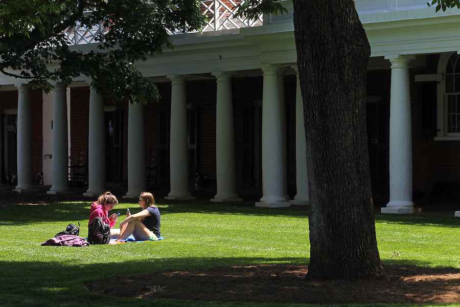 Students relax on the Lawn area of the University of Virginia in Charlottesville, VA. Photo/Andrew Shurtleff