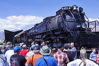 """Union Pacific steam locomotive 4014 """"Big Boy"""" sits on display at Union Station in Ogden, Utah."""