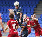 Jess Sigsworth of Manchester United Women tries a headed shot on goal