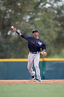 New York Yankees Oswald Peraza (5) throws to first base during an Instructional League game against the Pittsburgh Pirates on September 28, 2017 at Pirate City in Bradenton, Florida.  (Mike Janes/Four Seam Images)