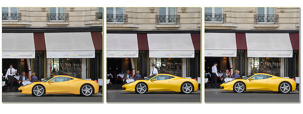 France, Paris.  Ferrari Envy.<br /> Sometimes one photo just isn't enough. This waiter can't keep his eyes off this yellow Ferrari in Paris. While the couple in the right image celebrates, maybe it's theirs?