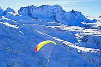Switzerland, Zermatt. Ski Parasailing