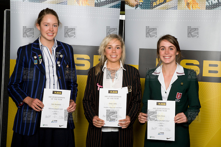 Girls Cycling finalists Kate MacDonald, Emily Collins & Kate Chilcott. ASB College Sport Young Sportperson of the Year Awards 2008 held at Eden Park, Auckland, on Thursday November 13th, 2008.