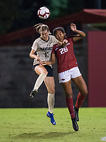 NWA Democrat-Gazette/BEN GOFF @NWABENGOFF<br /> Bryana Hunter (26), Arkansas defender, and Haley Hopkins, Vanderbilt forward jump for a header in the second half Thursday, Sept. 26, 2019, at Razorback Field in Fayetteville.