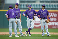 (L-R) Bret Huebner (3), Jared Mihalik (33), Banks Griffith (1), and John Michael Boswell (8) hang out during a pitching change in the game against the Wake Forest Demon Deacons at BB&T BallPark on March 2, 2019 in Charlotte, North Carolina. The Demon Deacons defeated the Paladins 13-7. (Brian Westerholt/Four Seam Images)