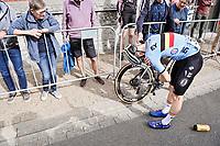 crash  victim Stan Van Tricht (BEL/SEG) <br /> <br /> U23 - Road Race (WC)<br /> race from Antwerp to Leuven (161.1km)<br /> <br /> UCI Road World Championships - Flanders Belgium 2021<br /> <br /> ©kramon