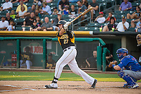 Jett Bandy (27) of the Salt Lake Bees at bat against the Iowa Cubs in Pacific Coast League action at Smith's Ballpark on August 21, 2015 in Salt Lake City, Utah. The Bees defeated the Cubs 12-8.  (Stephen Smith/Four Seam Images)