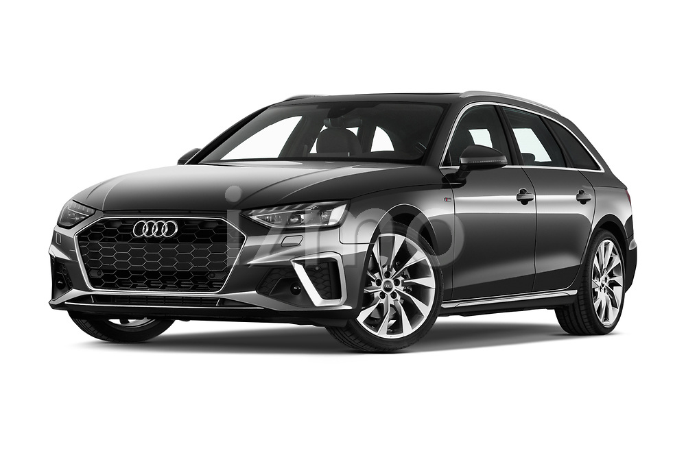 Stock pictures of low aggressive front three quarter view of a 2020 Audi A4 S-Line 5 Door Wagon