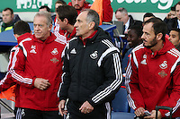 Swansea City Head Coach Francesco Guidolin takes his place on the bench next to Swansea City Interim Manager / First Team Coach Alan Curtis ahead of the Barclays Premier League match between Everton and Swansea City played at Goodison Park, Liverpool