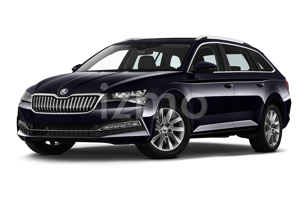 Stock pictures of low aggressive front three quarter view of 2020 Skoda Superb-Combi-iV Style 5 Door Wagon Low Aggressive