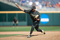 Vanderbilt Commodores pitcher Kumar Rocker (80) delivers a pitch to the plate during Game 8 of the NCAA College World Series against the Mississippi State Bulldogs on June 19, 2019 at TD Ameritrade Park in Omaha, Nebraska. Vanderbilt defeated Mississippi State 6-3. (Andrew Woolley/Four Seam Images)