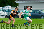 Conor Keane Legion gets to the ball ahead of Dylan Casey Stacks during their Snr Club Championship clash in Killarney on Saturday