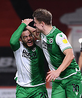 12th January 2021; Vitality Stadium, Bournemouth, Dorset, England; English Football League Championship Football, Bournemouth Athletic versus Millwall; Matt Smith celebrates  with Mason Bennett of Millwall after scoring in the 79th minute 1-1