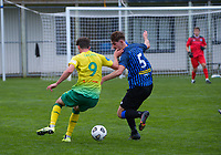 Riley Bidois (left) and Kaeden Atkins during the Central League football match between Miramar Rangers and Lower Hutt AFC at David Farrington Park in Wellington, New Zealand on Saturday, 10 April 2021. Photo: Dave Lintott / lintottphoto.co.nz