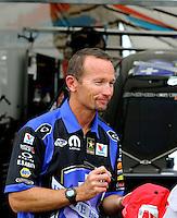 Apr 26, 2014; Baytown, TX, USA; NHRA funny car driver Jack Beckman during qualifying for the Spring Nationals at Royal Purple Raceway. Mandatory Credit: Mark J. Rebilas-