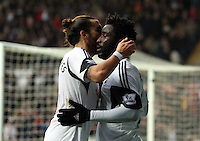 Wednesday, 01 January 2014<br /> Pictured: Wilfried Bony of Swansea (R) celebrating his equaliser with team mate Chico Flores, making the score 1-1.<br /> Re: Barclay's Premier League, Swansea City FC v Manchester City at the Liberty Stadium, south Wales.