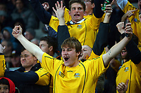 Wallabies fans celebrate during the Bledisloe Cup rugby match between the New Zealand All Blacks and Australia Wallabies at Eden Park in Auckland, New Zealand on Saturday, 7 August 2021. Photo: Dave Lintott / lintottphoto.co.nz