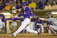LSU Tigers shortstop Alex Bregman (8) swings the bat during a Southeastern Conference baseball game against the Texas A&M Aggies on April 24, 2015 at Alex Box Stadium in Baton Rouge, Louisiana. LSU defeated Texas A&M 9-6. (Andrew Woolley/Four Seam Images)