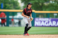 Indianapolis Indians shortstop Cole Tucker (27) during an International League game against the Buffalo Bisons on June 20, 2019 at Sahlen Field in Buffalo, New York.  Buffalo defeated Indianapolis 11-8  (Mike Janes/Four Seam Images)