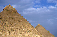 View of The Khephren Pyramid and The Great Pyramid, Giza, Cairo, Egypt.