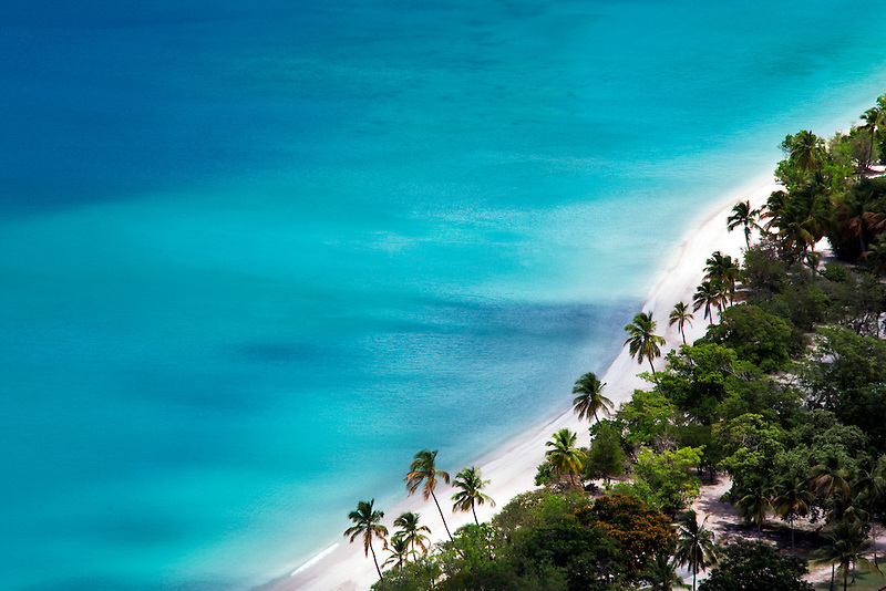 Megans bay beach with palm trees. St. Thomas. US Virgin Islands.