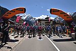 The start of Stage 17 of the 2021 Giro d'Italia, running 193km from Canazei to Sega Di Ala, Italy. 26th May 2021.  <br /> Picture: LaPresse/Gian Mattia D'Alberto   Cyclefile<br /> <br /> All photos usage must carry mandatory copyright credit (© Cyclefile   LaPresse/Gian Mattia D'Alberto)