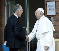 Pope Francis is welcomed by the rector Mario Panizza as he arrives to attend a meeting with students a professors at Roma Tre University in Rome, on February 17, 2017.<br /> UPDATE IMAGES PRESS/Isabella Bonotto<br /> <br /> STRICTLY ONLY FOR EDITORIAL USE