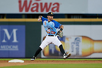 Bradenton Marauders second baseman Nick Franklin (35) throws to first base during a Florida State League game against the Jupiter Hammerheads on April 20, 2019 at LECOM Park in Bradenton, Florida.  Bradenton defeated Jupiter 3-2.  (Mike Janes/Four Seam Images)