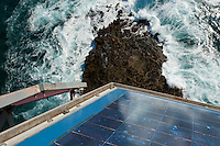 Sun and wave power predominate at Great Basses Reef Lighthouse, 8 miles offshore southwestern Sri Lanka.