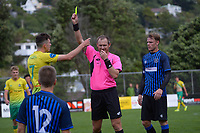 Lower Hutt's Luis Toomey is yellow carded during the Central League football match between Miramar Rangers and Lower Hutt AFC at David Farrington Park in Wellington, New Zealand on Saturday, 10 April 2021. Photo: Dave Lintott / lintottphoto.co.nz