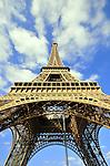 Portrait view of the Eiffel Tower in Paris, France.