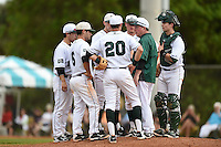Dartmouth Big Green head coach Bob Whalen (jacket) talks with third baseman Hayden Rappoport (20), shortstop Dustin Shirley (6), second baseman Justin Fowler (25), pitcher Louis Concato (22), first baseman Michael Ketchmark (27) and catcher Matt MacDowell (29) during a game against the Ball State Cardinals on March 7, 2015 at North Charlotte Regional Park in Port Charlotte, Florida.  Ball State defeated Dartmouth 7-4.  (Mike Janes/Four Seam Images)