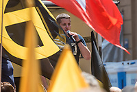 """Am Samstag den 20 Juli 2019 versuchten in Halle an der Saale ca. 200 Mitglieder und Anhaenger der rechtsextremen """"Identitaeren Bewegung"""", IB, eine Demonstration durchzufuehren. Sie versammelten sich dafuer vor dem Haus der IB in der Adam-Kuckhoff-Straße 16. Aufgrund von Gegenprotesten konnten die Rechtsextremen jedoch nicht marschieren, da alle Straßen um ihr Haus von Gegendemonstranten blockiert wurden.<br /> Im Bild: Daniel Fiss, Bundesleiter der Identitaeren Bewegung Deutschland, IB und ehemaliger Mitarbeiter der AfD-Bundestagsabgeordneten Siegbert Droese.<br /> 20.7.2019, Berlin<br /> Copyright: Christian-Ditsch.de<br /> [Inhaltsveraendernde Manipulation des Fotos nur nach ausdruecklicher Genehmigung des Fotografen. Vereinbarungen ueber Abtretung von Persoenlichkeitsrechten/Model Release der abgebildeten Person/Personen liegen nicht vor. NO MODEL RELEASE! Nur fuer Redaktionelle Zwecke. Don't publish without copyright Christian-Ditsch.de, Veroeffentlichung nur mit Fotografennennung, sowie gegen Honorar, MwSt. und Beleg. Konto: I N G - D i B a, IBAN DE58500105175400192269, BIC INGDDEFFXXX, Kontakt: post@christian-ditsch.de<br /> Bei der Bearbeitung der Dateiinformationen darf die Urheberkennzeichnung in den EXIF- und  IPTC-Daten nicht entfernt werden, diese sind in digitalen Medien nach §95c UrhG rechtlich geschuetzt. Der Urhebervermerk wird gemaess §13 UrhG verlangt.]"""
