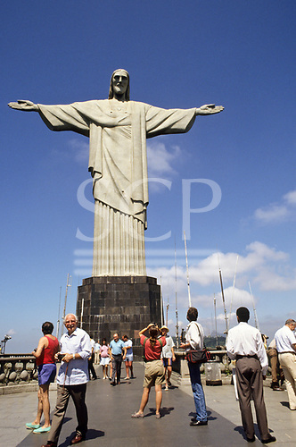 Rio de Janeiro Brazil Christ statue with tourists Corcovado mountain