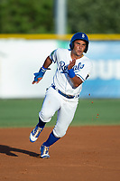 Jose Sanchez (6) of the Burlington Royals hustles towards third base against the Danville Braves at Burlington Athletic Stadium on August 12, 2017 in Burlington, North Carolina.  The Braves defeated the Royals 5-3.  (Brian Westerholt/Four Seam Images)