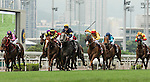 Jockeys steering their horses during the The Chairman's Sprint Prize race on 1 May 2016 at the Sha Tin Racecourse in Hong Kong, China. Photo by Victor Fraile / Power Sport Images