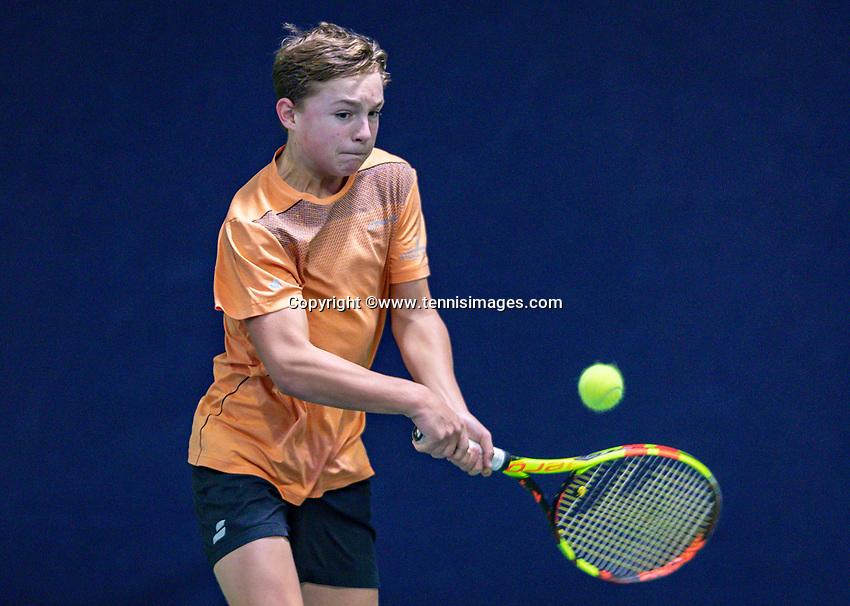 Hilversum, Netherlands, December 2, 2018, Winter Youth Circuit Masters, Kyvan Rietkerk (NED)<br /> Photo: Tennisimages/Henk Koster