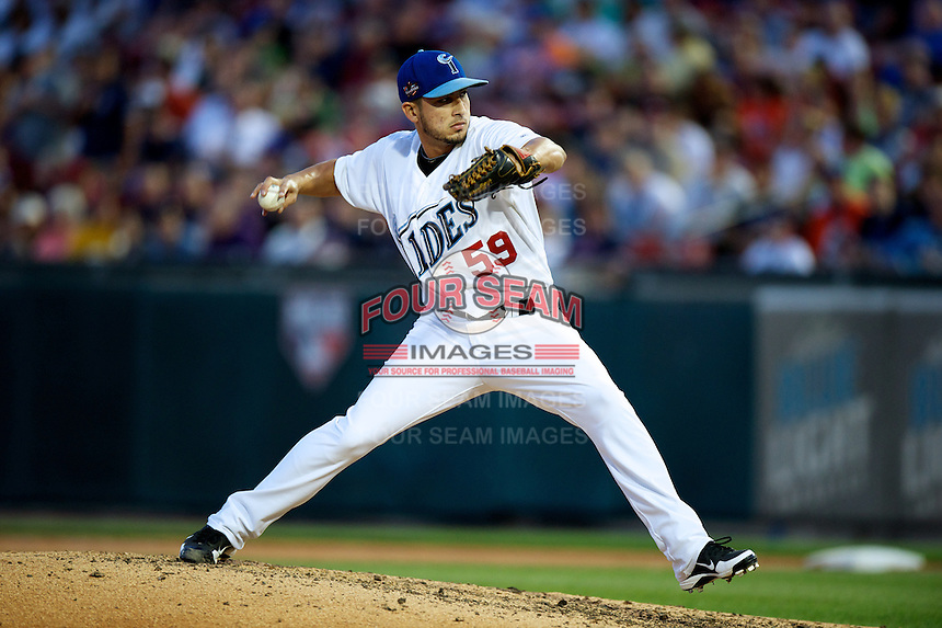 Norfolk Tides pitcher Miguel Socolovich #59 during the Triple-A All-Star game featuring the Pacific Coast League and International League top players at Coca-Cola Field on July 11, 2012 in Buffalo, New York.  PCL defeated the IL 3-0.  (Mike Janes/Four Seam Images)