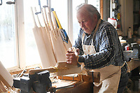 BNPS.co.uk (01202) 558833<br /> Pic: ZacharyCulpin/BNPS<br /> <br /> Tim Keeley carves the bats into shape<br /> <br /> Master bat maker Tim Keeley is putting the finishing touches to his beautifully hand-crafted pieces of willow ahead of the forthcoming cricket season.<br /> <br /> Tim, 62, has made almost half a million bats since starting out as an apprentice at Gray Nicholls aged 16 in 1975.<br /> <br /> He is the founder of family business Keeley Cricket, in Battle, East Sussex, which he runs with his brother Nick who has 35 years of bat-making experience.